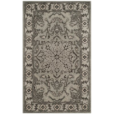 Evans Hand-Tufted Gray/Beige Area Rug COLOR: Grey / Beige, Rug Size: Round 6