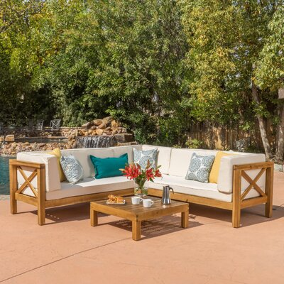 Lejeune 4 Piece Outdoor Seating Group with Cushion Fabric: Beige
