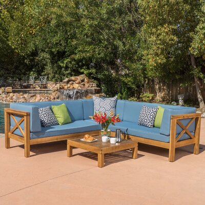Lejeune 4 Piece Outdoor Seating Group with Cushion Fabric: Blue