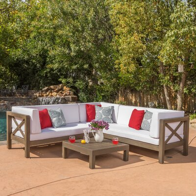 Lejeune 4 Piece Outdoor Seating Group with Cushion Fabric: White