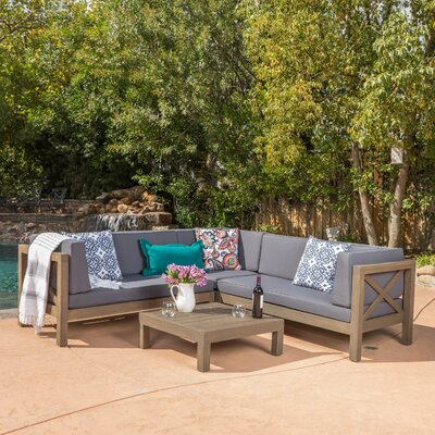 Lejeune 4 Piece Outdoor Seating Group with Cushion Fabric: Dark Gray