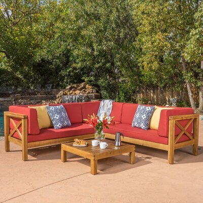 Lejeune 4 Piece Outdoor Seating Group with Cushion Fabric: Red
