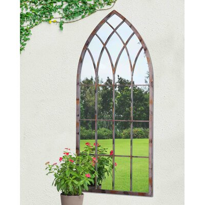 Cathedral Windowpane Style Garden Mirror