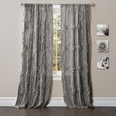 Helen Embroidered Ruffle Rod Pocket Single Curtain Panel