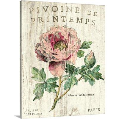 'Pivoine de Printemps' Graphic Art on Wrapped Canvas Size: 20