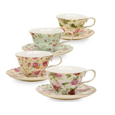 Ilian 8 oz. Porcelain Rose Chintz 4 Piece Tea Cup and Saucer Assorted Set CTLI1028 26402670