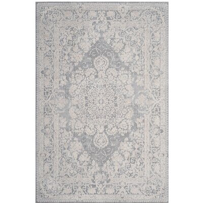 Pellot Light Gray/Cream Area Rug Rug Size: 51 x 76
