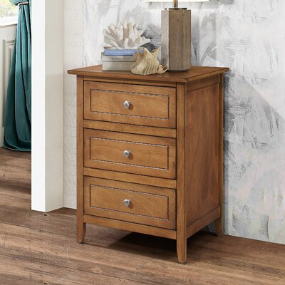 Ovellette 3 Drawer Nightstand Finish: Light Walnut