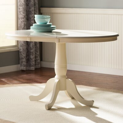 Overbay Round Pedestal 30 Extendable Dining Table Finish: Linen White