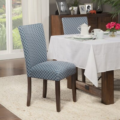 Feldman Upholstered Parsons Chair Upholstery: Fabric - Blue / Cream White Quatrefoil Diamond