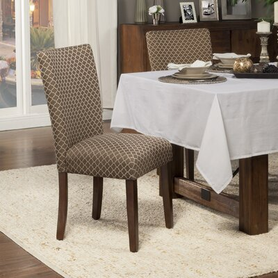 Feldman Upholstered Parsons Chair Upholstery: Fabric - Brown / Tan Quatrefoil Diamond