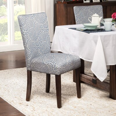 Overbeck Parsons Chair Upholstery: Fabric - Navy / Cream Floral