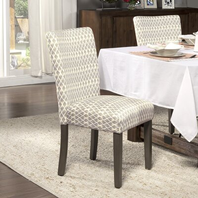 Feldman Upholstered Parsons Chair Upholstery: Fabric - Gray Diamond