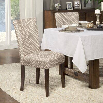 Feldman Upholstered Parsons Chair Upholstery: Fabric - Mocha / Cream Quatrefoil Diamond