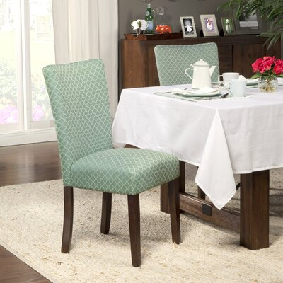 Feldman Upholstered Parsons Chair Upholstery: Fabric - Aqua / Cream White Quatrefoil Diamond