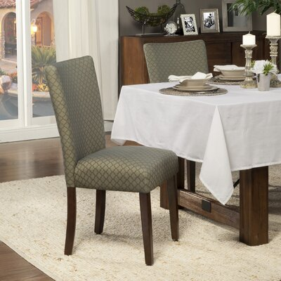 Feldman Upholstered Parsons Chair Upholstery: Fabric - Blue / Brown Quatrefoil Diamond