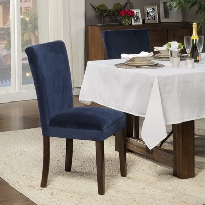Feldman Upholstered Parsons Chair Upholstery: Velvet - Ink Navy Plush