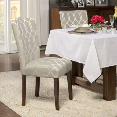 Feldman Upholstered Parsons Chair Upholstery: Fabric - Pewter Gray / Cream Lattice