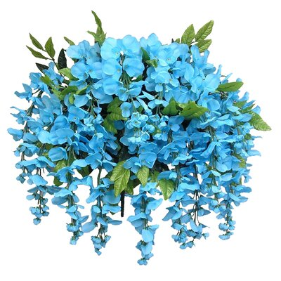 15 Stems Wisterria Long Hanging Flower Bush Color: Turquoise