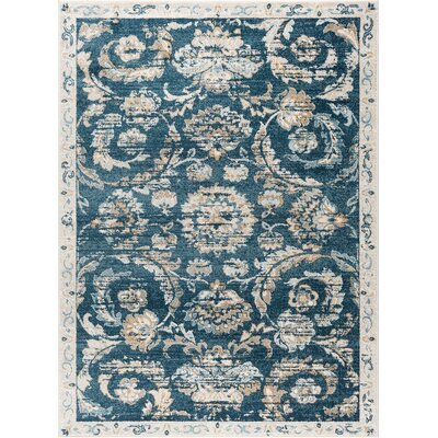 Clementine Transitional Navy Area Rug Rug Size: 710 x 103