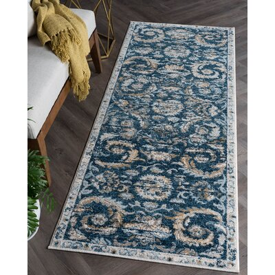 Clementine Transitional Navy Area Rug Rug Size: Runner 27 x 73