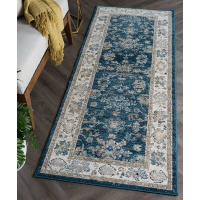 Clementine Traditional Navy Area Rug Rug Size: Runner 27 x 73