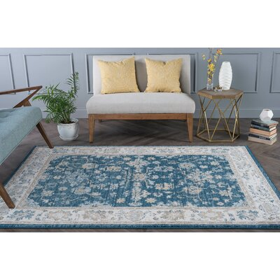 Clementine Traditional Navy Area Rug Rug Size: 710 x 103