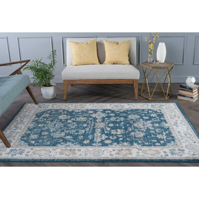 Clementine Traditional Navy Area Rug Rug Size: 53 x 73