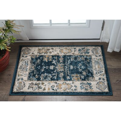 Clementine Traditional Navy Area Rug Rug Size: 2 x 3