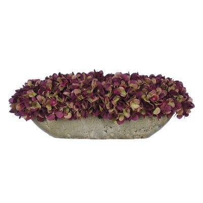 Artificial Hydrangea in Oval Ceramic Pot Color: Plum / Sage