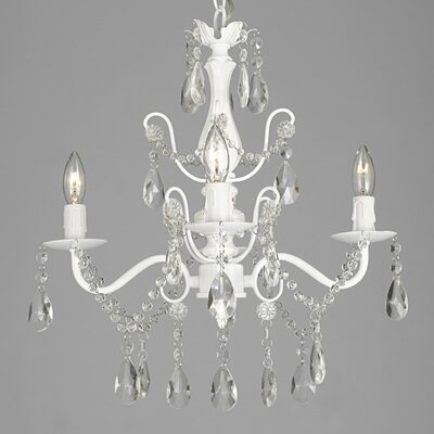 Padillo 4-Light Crystal Chandelier Finish: White