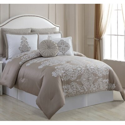 Immortelle 6 Piece Comforter Set Color: Taupe, Size: King