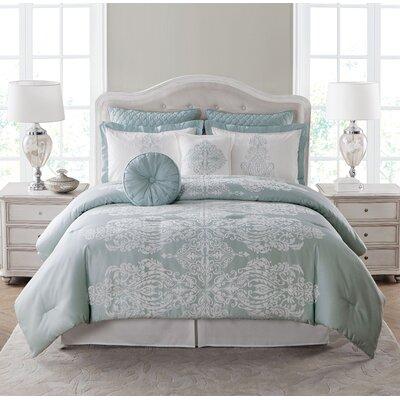Immortelle 8 Piece Comforter Set Color: Mint, Size: King