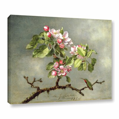'Apple Blossoms and a Hummingbird' Painting Print on Wrapped Canvas Size: 14