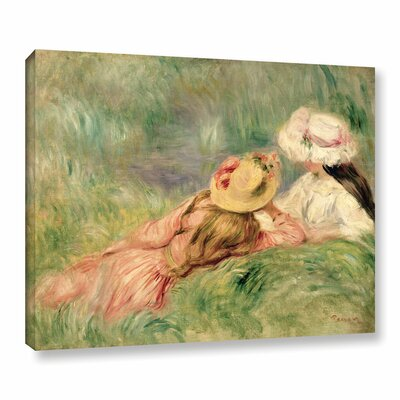 'Young Girls On The River Bank Painting' by Pierre Renoir Print on Wrapped Canvas Size: 14
