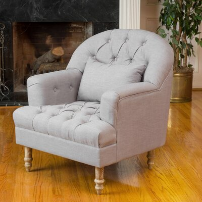 Palafox Tufted Arm Chair Upholstery: Dark Grey
