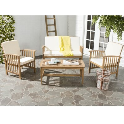 Alcazar 4 Piece Seating Group with Cushions Color: Teak Look / Beige