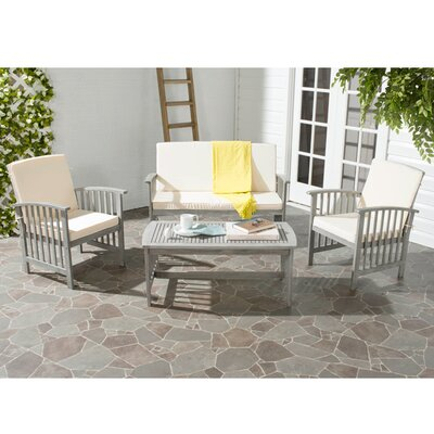 Alcazar 4 Piece Seating Group with Cushions Color: Grey Wash / Beige