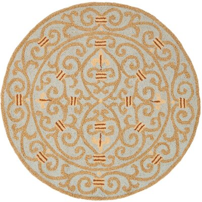 Bissette Blue/Brown Area Rug Rug Size: Round 4