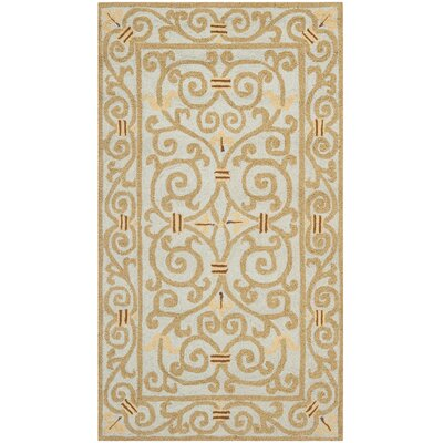 Bissette Blue/Brown Area Rug Rug Size: Oval 46 x 66