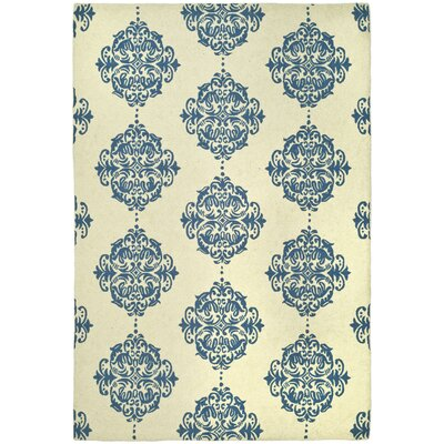 Eaton Ivory/Blue Area Rug Rug Size: Rectangle 2'6