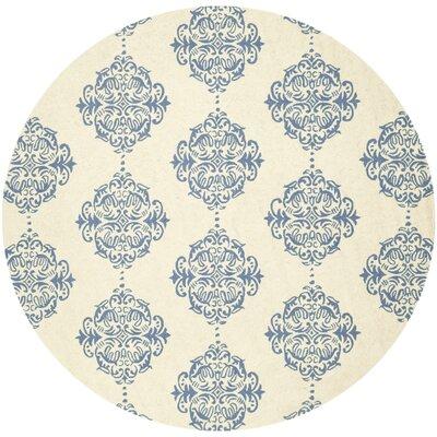 Pratt Ivory/Blue Area Rug Rug Size: Round 3'