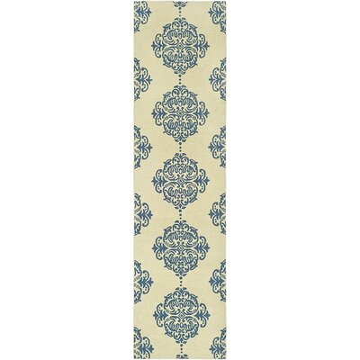 Eaton Ivory/Blue Area Rug Rug Size: Runner 2'6