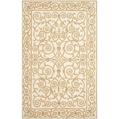 Bissette Ivory&Gold Area Rug Rug Size: 39 x 59