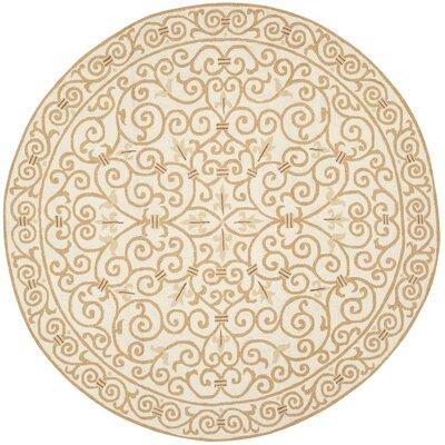 Bissette Ivory&Gold Area Rug Rug Size: Round 4