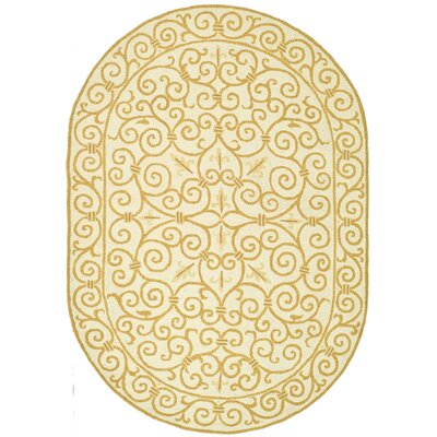 Bissette Ivory&Gold Area Rug Rug Size: Rectangle 89 x 119