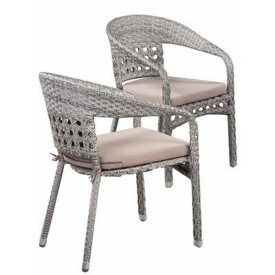 Alex Outdoor Stacking Dining Arm Chair with Cushion LRKM1076 37423999