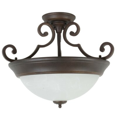 Bienville Three Arm Basic 2-Light Semi Flush Mount Color: Aged Bronze