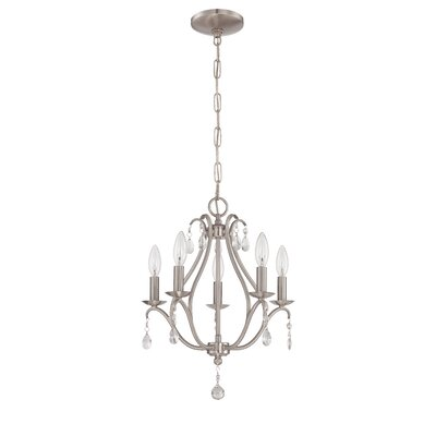 Palumbo 5-Light Mini Candle-Style Chandelier Finish: Brushed Nickel, Crystal Color: Clear
