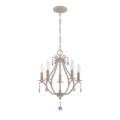 Palumbo 5-Light Mini Candle-Style Chandelier Finish: Antique Linen, Crystal Color: Pink